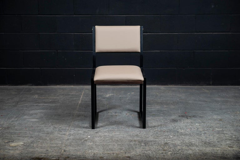 Canadian Shaker Modern Chair by Ambrozia, Solid Walnut, Black Steel, Sandle Vinyl For Sale