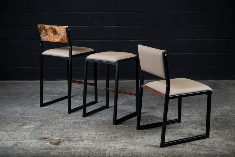 Contemporary Shaker Modern Chair by Ambrozia, Solid Walnut, Black Steel, Sandle Vinyl For Sale