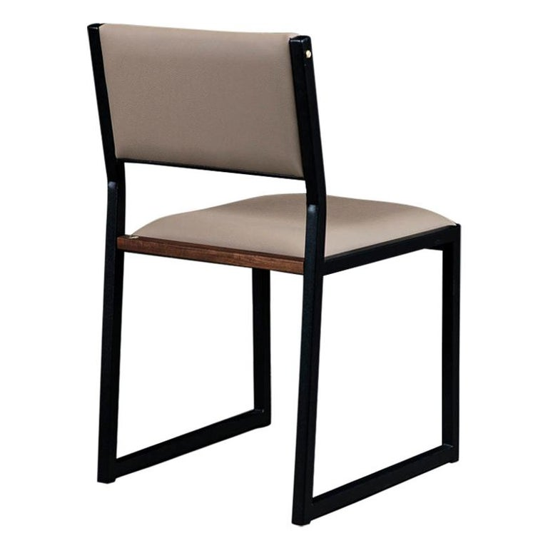 Shaker Modern Chair by Ambrozia, Solid Walnut, Black Steel, Sandle Vinyl For Sale