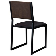 Shaker Modern Chair by Ambrozia, Solid Wood, Black Steel, Espresso Vinyl