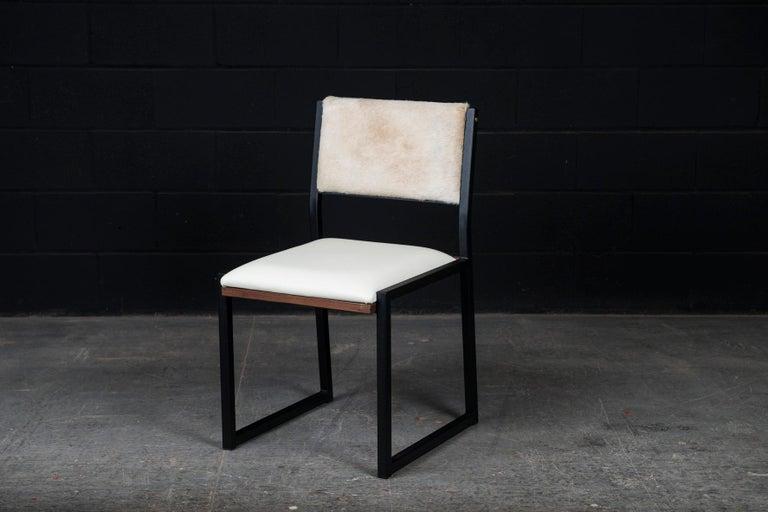 Canadian Shaker Modern Chair by Ambrozia, Walnut, Black Steel, Bone Leather & Cow Hide For Sale