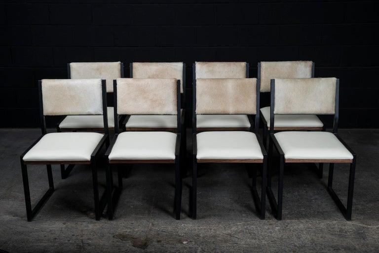 Shaker Modern Chair by Ambrozia, Walnut, Black Steel, Bone Leather & Cow Hide For Sale 2