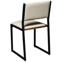 Shaker Modern Chair by Ambrozia, Walnut, Black Steel, Cream Premium Vinyl