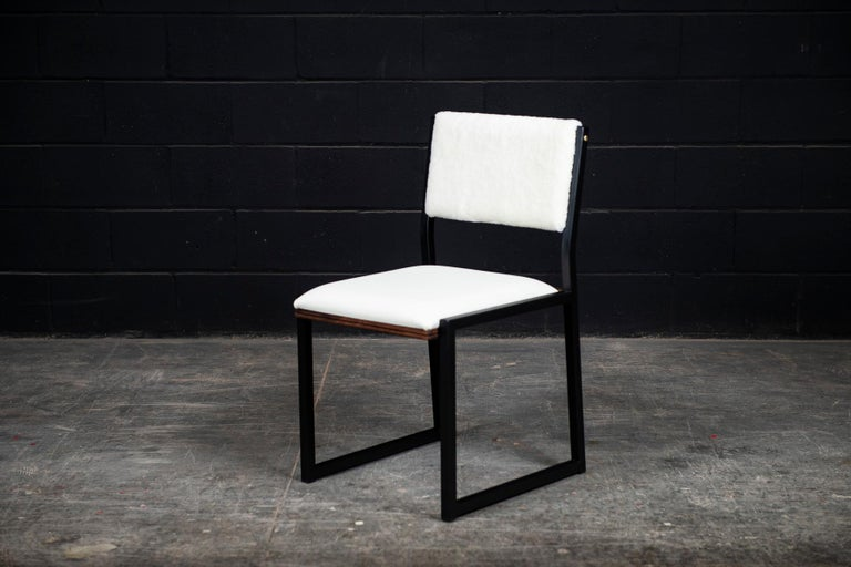 Canadian Shaker Modern Chair by Ambrozia, Walnut, Black Steel, Leather and Shearling For Sale
