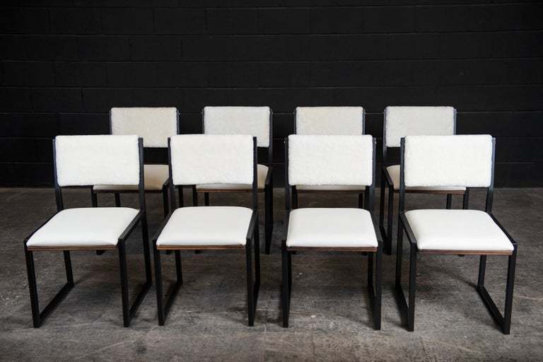 Shaker Modern Chair by Ambrozia, Walnut, Black Steel, Leather and Shearling In New Condition For Sale In Drummondville, Quebec