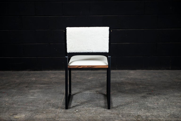 Contemporary Shaker Modern Chair by Ambrozia, Walnut, Black Steel, Leather and Shearling For Sale