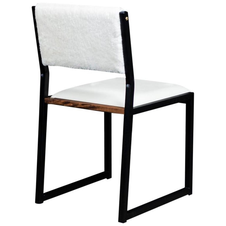 Shaker Modern Chair by Ambrozia, Walnut, Black Steel, Leather and Shearling For Sale