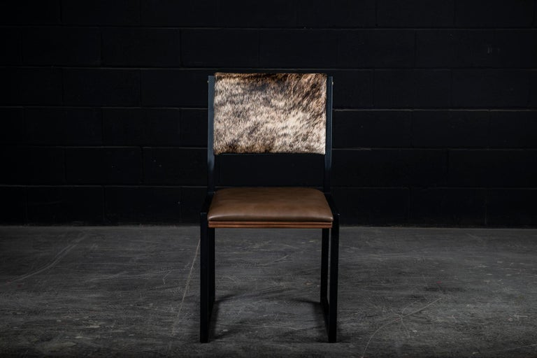 Ebonized Shaker Modern Chair by Ambrozia, Walnut, Brown Leather, light brown brindle hide For Sale