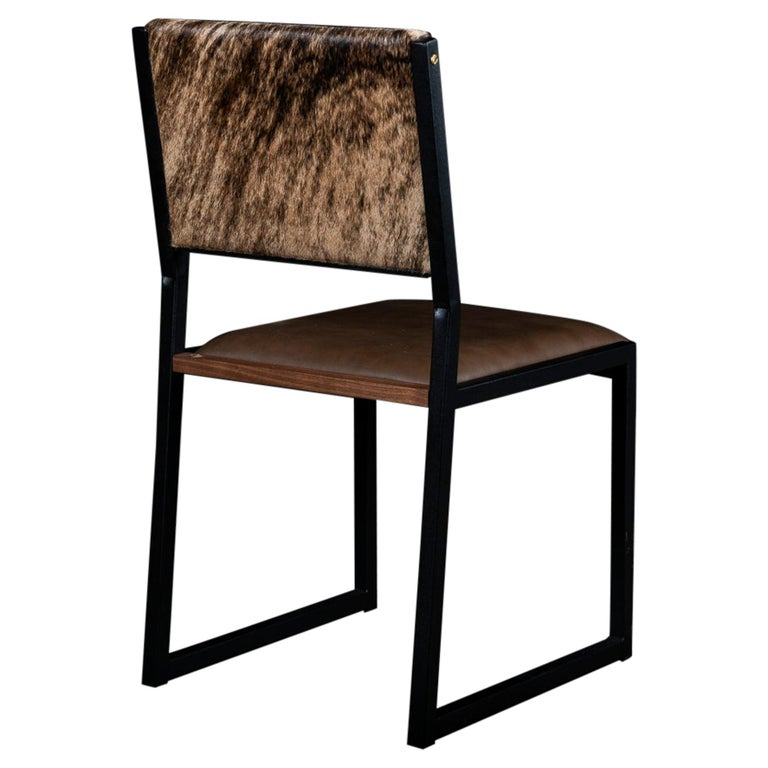 Shaker Modern Chair by Ambrozia, Walnut, Brown Leather, light brown brindle hide For Sale