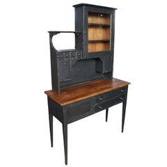 Shaker Style Primitive Sideboard & Hutch Rustic Black Cupboard Buffet Antiqued