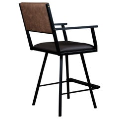 Shaker Swivel armchair, by Ambrozia, Ebonized Oak, Black Steel, Brown Vinyl
