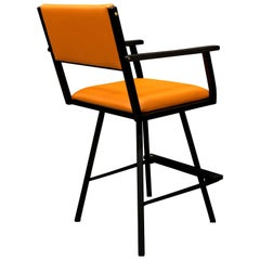 Shaker Swivel Armchair, by Ambrozia, Ebonized Oak & Steel, Burnt Orange Leather