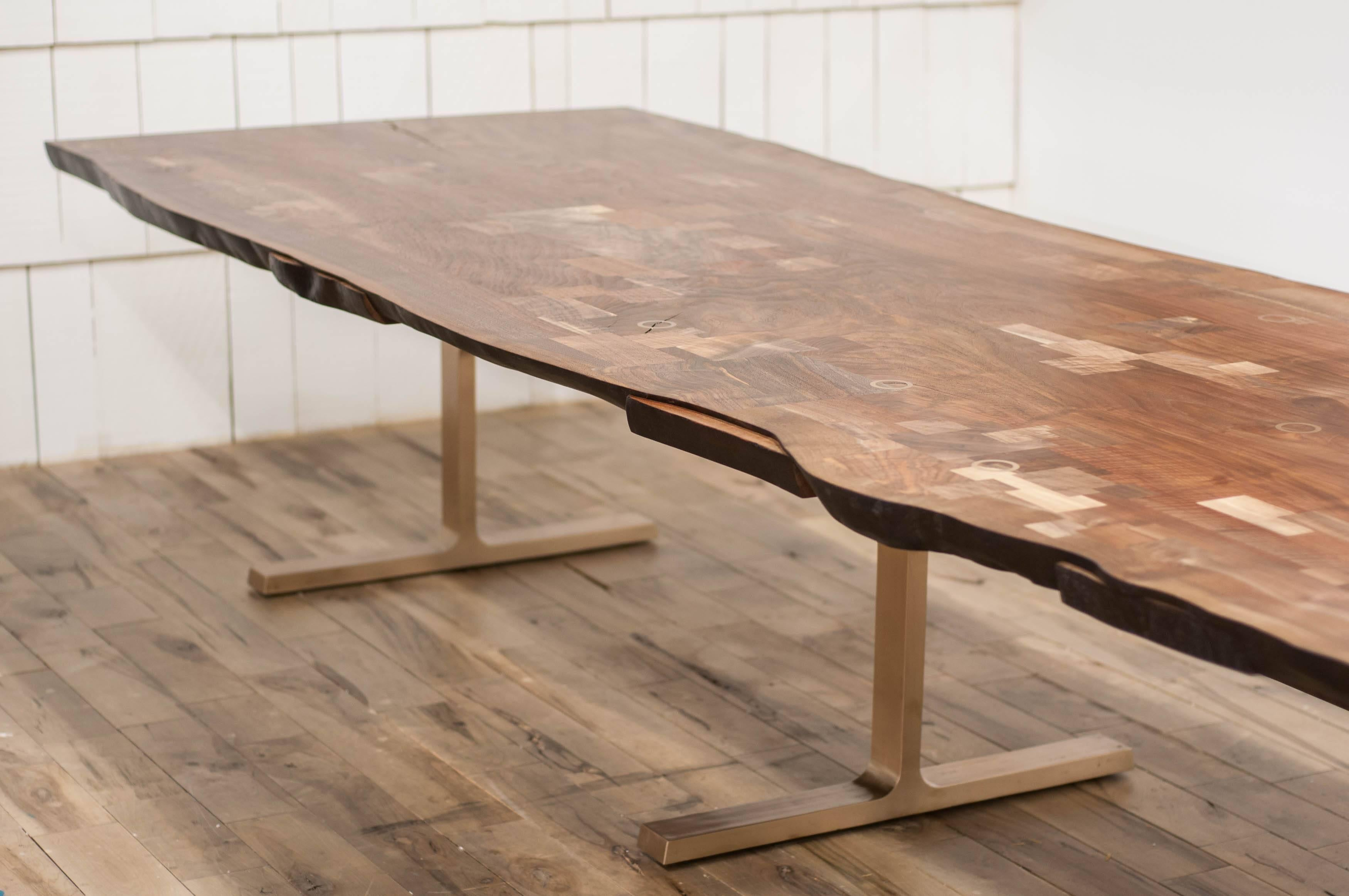 Shaker Table In Claro Walnut Slab And Cast Bronze Legs For Sale 12