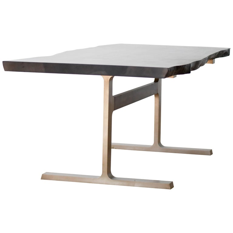 Shaker Table with Elliptical Top Hand Carved in Oxidized Maple & Black Cast Base For Sale