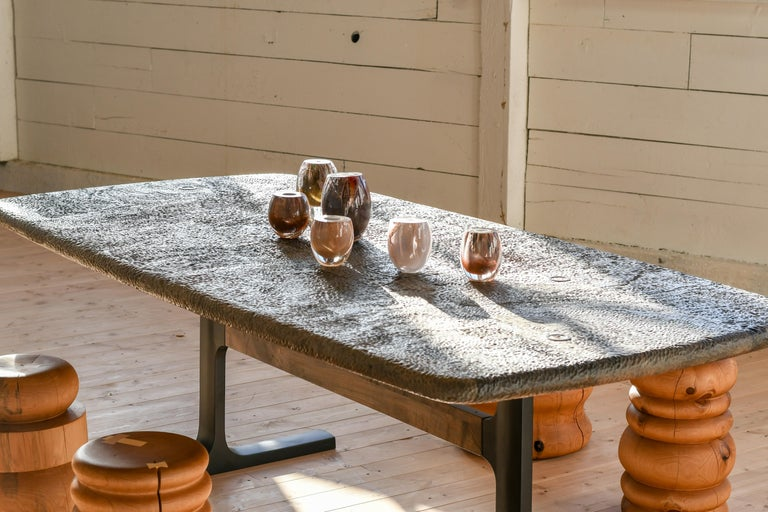 Bronze Shaker Table with Elliptical Top Hand Carved in Oxidized Maple & Black Cast Base For Sale