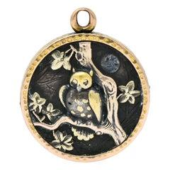 Victorian 14 Karat Gold Mixed Metal Shakudo Rooster Owl Pendant Charm