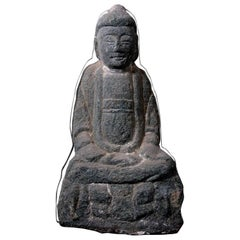 Shakyamuni, the Original Buddha Sculpted in Schist Stone, Originally from a Cave
