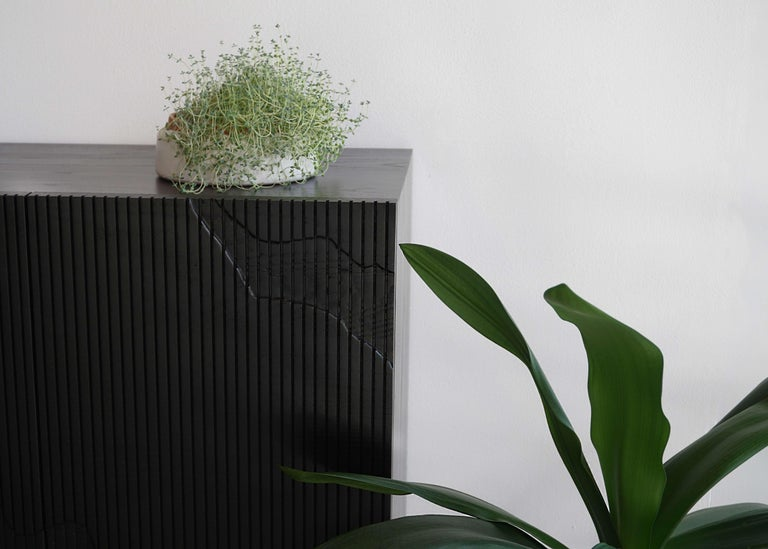 Modern Shale Credenza in Blackened Ash on Brass Base by Simon Johns For Sale