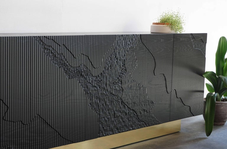 Canadian Shale Credenza in Blackened Ash on Brass Base by Simon Johns For Sale