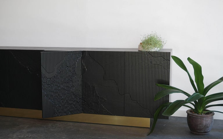 Shale Credenza in Blackened Ash on Brass Base by Simon Johns For Sale 3