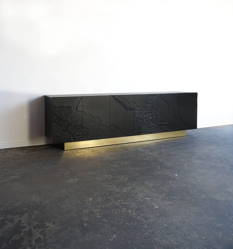 Contemporary Shale Credenza in Blackened Ash on Brass Base by Simon Johns For Sale