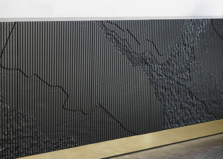Shale Credenza in Blackened Ash on Brass Base by Simon Johns For Sale 1