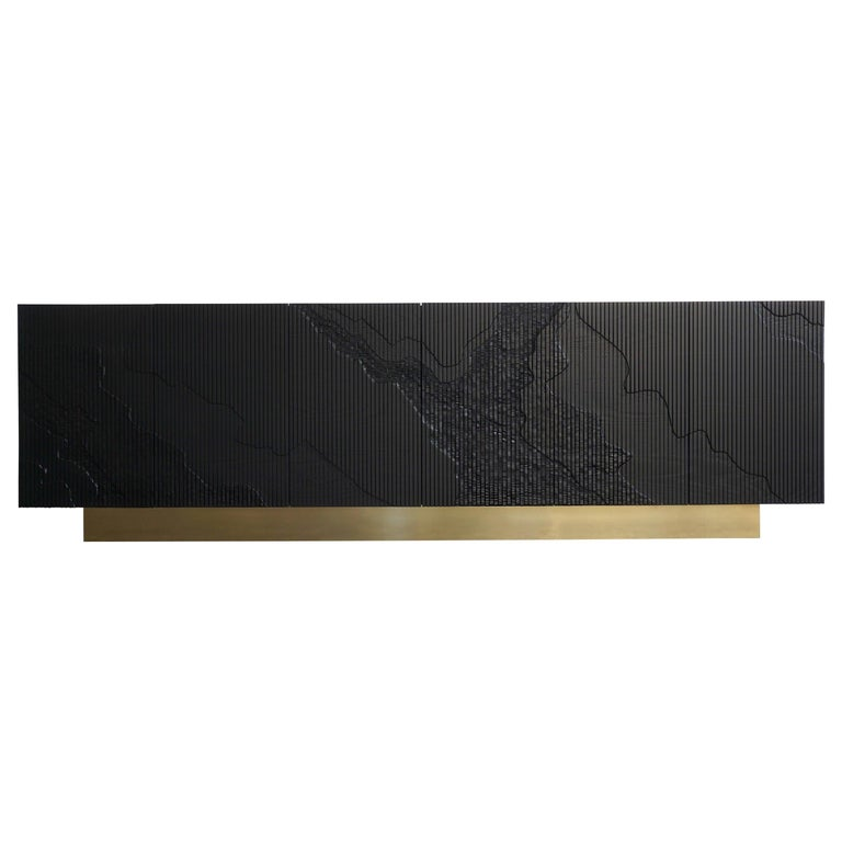 Shale Credenza in Blackened Ash on Brass Base by Simon Johns For Sale