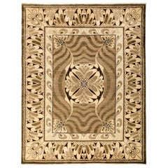 One-of-a-Kind Modern Wool Silk Blend Hand-Knotted Area Rug, Mocha, 8' 2 x 10' 5