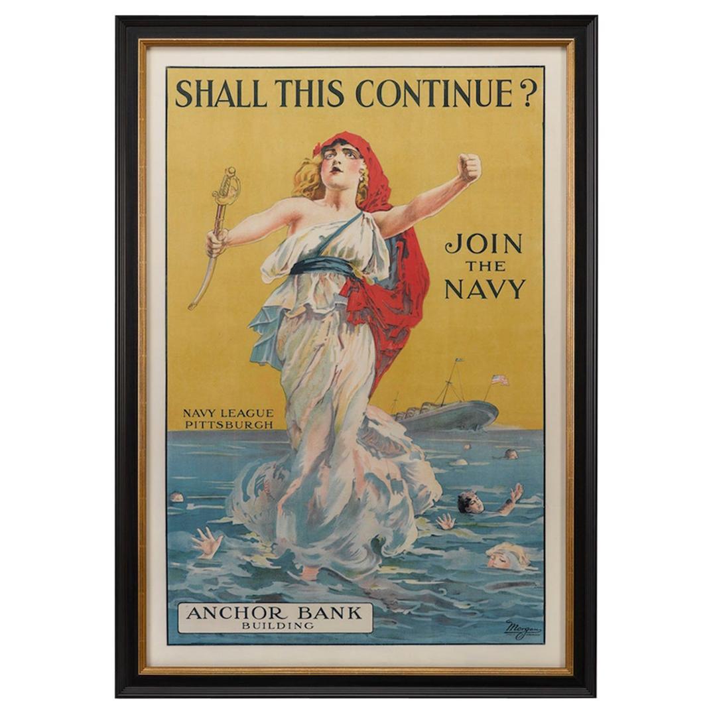 "U.S. Navy Antique WWI Recruitment Poster ""Shall This Continue?"" circa 1916"