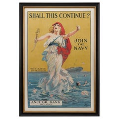 "U.S. Navy Antique WWI Recruitment Poster ""Shall This Continue?"" circa 1916"