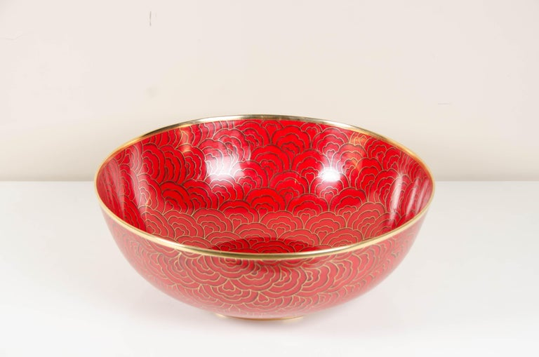 Cloissoné Shallow Bowl, Red Hua Design by Robert Kuo, Cloisonné, Limited Edition For Sale