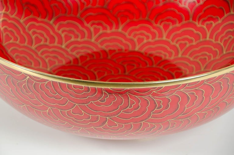 Shallow Bowl, Red Hua Design by Robert Kuo, Cloisonné, Limited Edition In New Condition For Sale In West Hollywood, CA