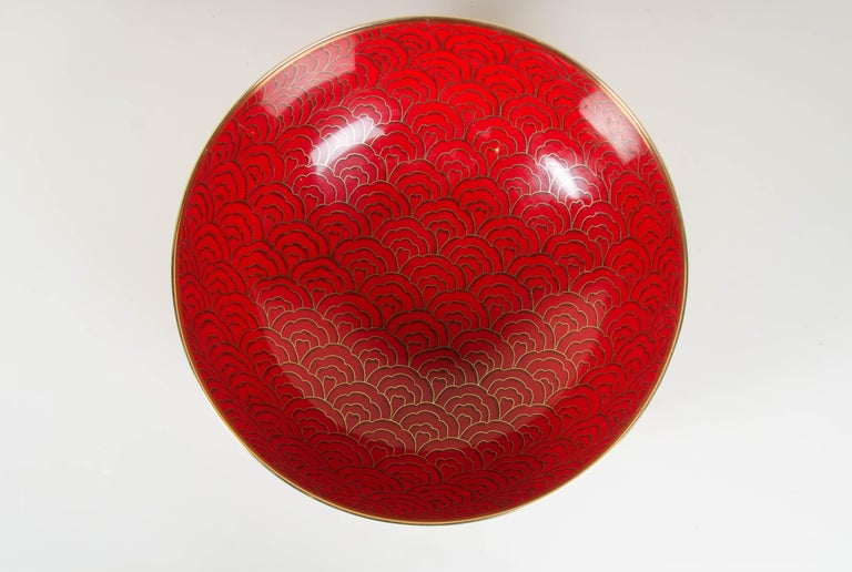Contemporary Shallow Bowl, Red Hua Design by Robert Kuo, Cloisonné, Limited Edition For Sale