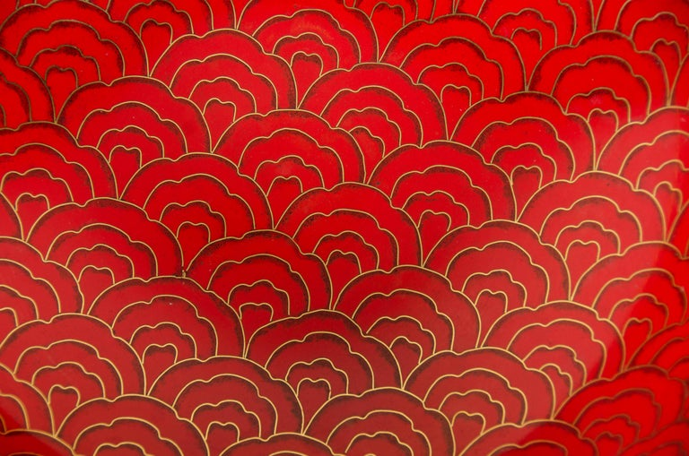 Enamel Shallow Bowl, Red Hua Design by Robert Kuo, Cloisonné, Limited Edition For Sale