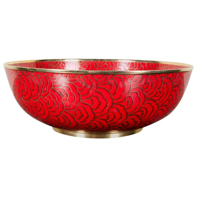 Shallow Bowl, Red Hua Design by Robert Kuo, Cloisonné, Limited Edition For Sale