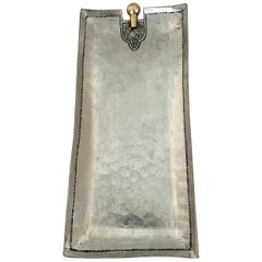Shallow Hammered Silver Tray with Brass Detailing
