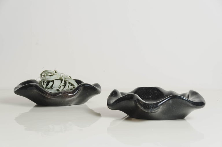 Shallow Lotus Bowl, Small, Black Crystal by Robert Kuo, Hand Carved In New Condition For Sale In West Hollywood, CA