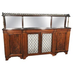 Shallow Rosewood and Bronze English Regency Huntboard Sideboard Buffet C1840