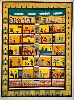 Large Israeli Folk Art Hebrew Naive Judaica Lithograph Shabbat Aishes Chayil Ode