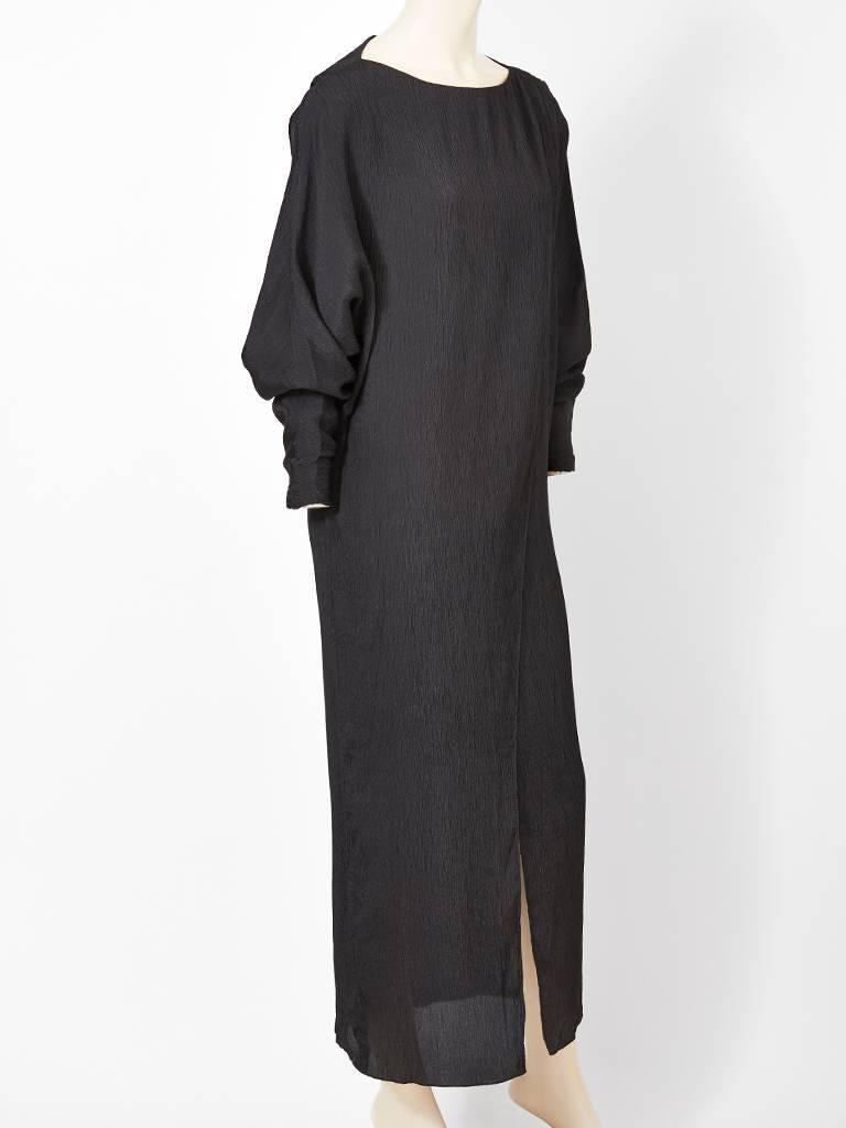 Black Shamask Silk Plissé Sheath For Sale