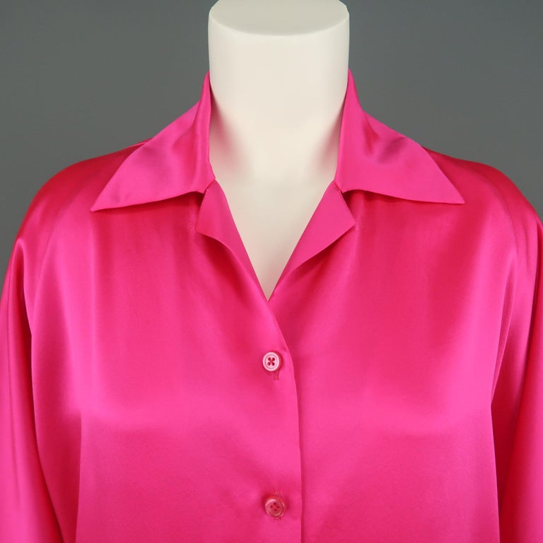 SHAMASK oversized blouse comes in neon fuchsia silk satin with a pointed collar, button up front, and cuffless raglan sleeves.  Wear throughout silk. As-is. Made in USA.   Good Pre-Owned Condition. Marked: 1   Measurements:   Shoulder: 16 in. Bust: