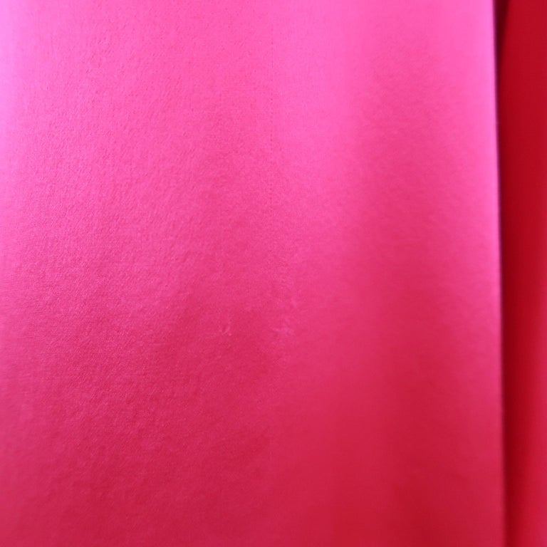 SHAMASK Size S Fuchsia Pink Silk Oversized Collared Blouse In Good Condition For Sale In San Francisco, CA