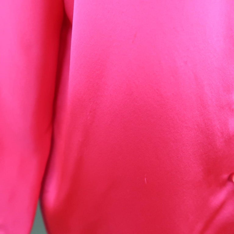 Women's SHAMASK Size S Fuchsia Pink Silk Oversized Collared Blouse For Sale