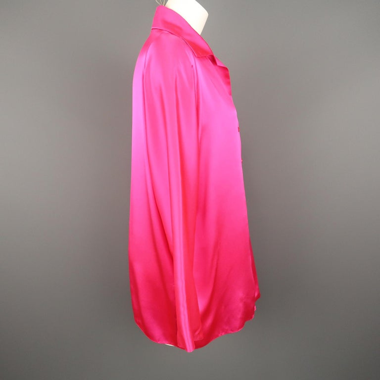 SHAMASK Size S Fuchsia Pink Silk Oversized Collared Blouse For Sale 1