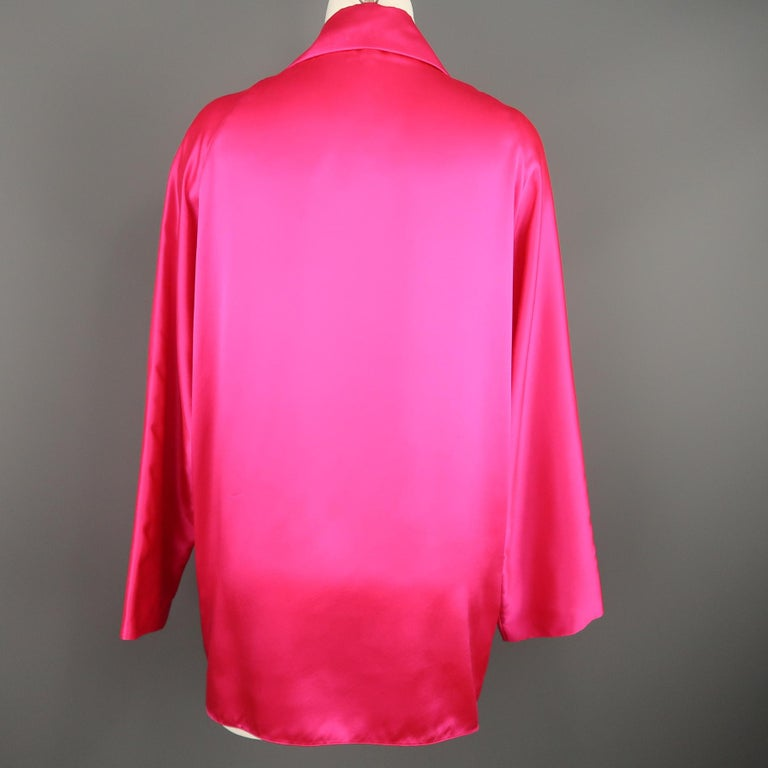 SHAMASK Size S Fuchsia Pink Silk Oversized Collared Blouse For Sale 2