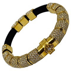 Shamballa Jewels 12ct Diamond 18K Yellow Gold and Leather Bracelet