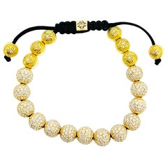 SHAMBALLA Jewels 6mm Non- Braided 18K Yellow Gold 9.5ct Diamond Beads Bracelet