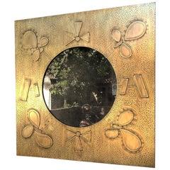 Shamrock Acid Etched Patinated Brass Mirror Felix De Boussy for Studio Belgali