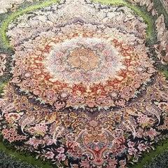 Shams Green  -Master Novinfar Hand Knotted Persian Tabriz Rug/Carpet