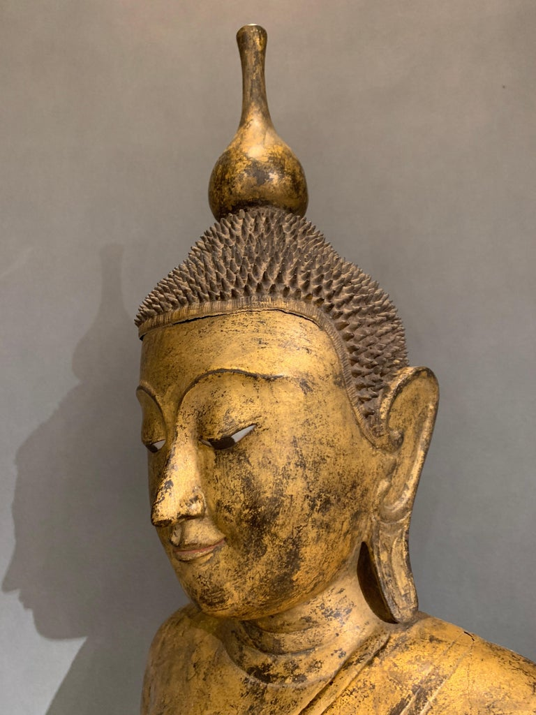 Shan Burmese Carved and Giltwood Standing Buddha, Early 20th Century 5